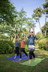 Three women practicing yoga in green field (Apricot Cafe) Tags: img90658 adultsonly asia asianandindianethnicities exercisemat healthylifestyle japan japaneseethnicity odaibatokyo relaxationexercise tamronsp35mmf18divcusdmodelf012 tokyojapan athlete beautifulwoman capitalcities charming day flexibility friendship fulllength grass greencolor handraised happiness lifestyles mindfulness nature odaibaseasidepark onlywomen outdoors people photography posing practicing publicpark rainbowbridgetokyo realpeople sky smiling sport springtime stretching success teamwork threepeople togetherness traveldestinations vitality women yoga youngadult