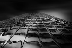...urbaninfinity... (*ines_maria) Tags: skyscraper perspective convergence modern architecture architectural curved geometric lookup fine art tower centennialtower future business singapore asia megacity office central light textures sky pattern bw monochrome