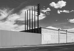 (el zopilote) Tags: 500 albuquerque newmexico street cityscape architecture industrial graffiti powerlines clouds canon eos 5dmarkii canonef24105mmf4lisusm fullframe bw bn nb blancoynegro blackwhite noiretblanc digitalbw bndigital schwarzweiss monochrome