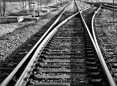 Como se cruzan las vías para volver a separarse, así se cruzaron tu vida y la mía. (elena m.d.) Tags: ferrocarril bn bw monocromo nikon d5600 snapseed