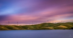 Sunset at Los Vaqueros Reservoir & Watershed Park, Livermore, CA by Oliverpan - The long exposure effect is done by using stacking mode in PS by taking around 30 picture in 20 minutes!