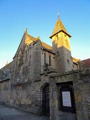 All Saints' Episcopal church at sunrise, 2018 May 01 (Dunnock_D) Tags: uk unitedkingdom britain fife standrews episcopal church blue sky gb scotland