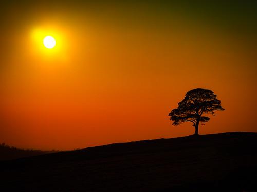 Sunset below The Roaches.