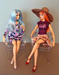 Woman-to-woman talk (Deejay Bafaroy) Tags: barbie fashionistas doll dolls puppe puppen 60 patchworkdenim asianmold mattel portrait porträt madetomove mtm 69 blue blau red rot