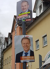 Election posters in Hildburghausen (:Linda:) Tags: germany thuringia town hildburghausen election poster man dielinke cdulandrat