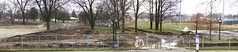 Centennial Park Oak Lawn - Facelift Progress - 4/15/2018 - Panorama (Rick Drew - 21 million views!) Tags: oaklawn il illinois centennial park facelift construction cook county trees forest grove playground grass field ballpark fence heavy equipment progress rain wet panorama panoramic stitched wide