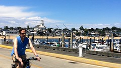 Provincetown bike on MacMillan Pier w library (rikahlberg) Tags: provincetown bicycle capecod bike bikes