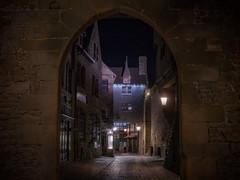L'entrée (karinavera) Tags: city longexposure night photography cityscape urban ilcea7m2 montsaintmichel france lentrée normandie entrance