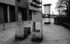 """Kunstwerk am """"Kabenhof"""" / Artwork at the `Kabenhof` (Lichtabfall) Tags: blackandwhite blackwhite buchholzidn buchholz schwarzweiss kunst art kunstwerk artwork litfassäule kabenhof monochome einfarbig beton concrete"""