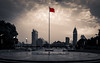 China - in the centre (Rob-Shanghai) Tags: shanghai flag china pole city cityscape red chinese river bund