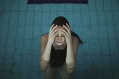 Pool Mood (milanvopalensky) Tags: girl woman female pool swim swimming blue hand hands head concept conceptual surreal surrealism czech canon 5d mark ii 50mm 12 portrait water wet hair face mood moody atmosphere