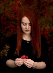 beauty (Irena Rihova) Tags: hair red redhair longhair beautiful girl lady woman portrait portraiture womanportrait flower flowers spring fashion dress