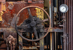 Shutoff Valve Wheel and Corrosion - Bethlehem Steel Plant (JohnColeUSA) Tags: bethlehemsteelplant bethlehemsteelmill bethlehempa usa abandoned bethlehemironworks bethlehemsteelworks decayed deteriorating discolored geometric industrial metal rust stained steelmill steelprocessing texture urban lehighvalley lehighcounty circle wheel
