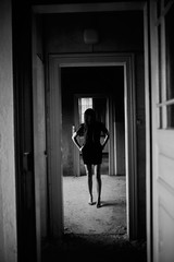 At the end of the hallway (Adam R.T.) Tags: clinique urbex urbexground urbexeurope decay decline ruin mysterious interior obscur quiet fantastic france lostplaces exploration girl model legs doors blackandwhite