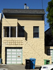 San Francisco, CA, Noe Valley, Unusual House amid Victorian Houses (Mary Warren 13.5+ Million Views) Tags: sanfranciscoca noevalley architecture building house garage porch stone yellow