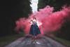 Smoked girl (Sergio Nevado) Tags: retrato portrait chica girl mujer woman humo smoke camino road vestido dress azul blue rosa pink alava araba pais vasco euskadi basque country bosque forest