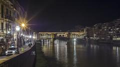 Ponte Vecchio at Night (Of Light & Lenses) Tags: toskana tuscany pontevecchio florence florenz italy oldbridge cosimoi medici palazzopittiarno river nightscene jewelry giorgiovasari 1565 olympuspenf voigtlaendernokton nokton095175mm