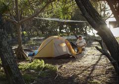 grove campsite (gnarlydog) Tags: australia camping campsite tent sunrise contrejour backlit island sand trees warmlight manualfocus adaptedlens vintagelens softlight gzuiko40mmf14