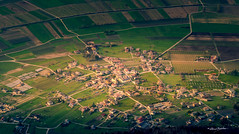 (fake) Aerial views (Alessio Bertolone) Tags: aerial aereo view vista panorama scatto shot barco tn trentino italia italy it campi fields alessiobertolone nikon nikkor d7000 1685mm landscape paesaggio light luce paese town strade roads case houses chiesa church