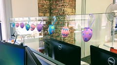 Office Easter Decor (LionessLeesha) Tags: decor holiday easter eggs pastel office cubical glasswall glass brick computers festive