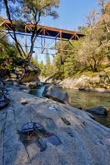 Camp Creek Bridge (maberto) Tags: california d7200 hdr nikon sierranevada bridge foothills landscape reflection water winecountry ©bradmaberto campcreek creek