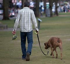 A Walk In The Park (Scott 97006) Tags: man dog canine pet animal park grass leash