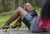Fetish rest in nature - https://www.instagram.com/yseedefrancefeetgirl (Ysée de France) Tags: latex pvc leder leather heels sandals fishnets stockings tights pantyhose sexy woman girl ebony domme femdom feet