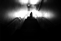(cherco) Tags: woman solitario solitary silhouette silueta shadow sombra stairs escaleras up subir light luz metal lonely blackandwhite blancoynegro arquitectura architecture future alone lines futuro city museum