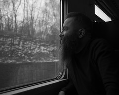 smile (Cosimo Matteini) Tags: cosimomatteini ep5 olympus pen m43 mzuiko17mmf18 michaelwhite portrait train window blackwhite bw beard smile