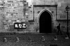 Church attendance (Leica M6) (stefankamert) Tags: stefankamert street church man textures noiretblanc noir blackandwhite blackwhite wall tübingen analog grain film tones leica m6 leicam6 kodak trix summicron summicrondr dualrange