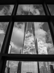 Freedom Tower As Seen From Inside Walkway; New York, New York (hogophotoNY) Tags: hogophoto nyc ny skyscraper bw blackwhite usa olympus e500 olympuse500 manhattan newyorkcity nycity newyorknewyork