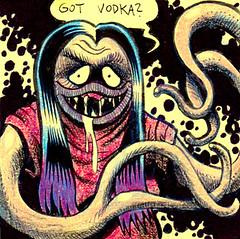 Got Vodka? (Tom Bagley) Tags: monsterlady longhair kirbykrackle creepy eerie weird zontar plonkwife ink postitnote colouredpencils cartoon horror tentacles tombagley calgary alberta canada