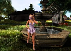 💜💌130 💌💜Près de la fontaine 💌💜 (saphir shamen) Tags: avatar blog blogger colors cosmopolitain dress event fashion feet hair heels high shoes thesecretpose life skin skyn zk laq look mesh maitreya meshhead outfit women sl second secondlife swallow truth skullcreek