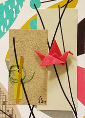 pink crane origami (julie_savard) Tags: aceo origami atc orijuju juliesavard paperart miniature pocketart papercraft paperartist artisttradingcards japaneseart traditionnalart