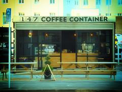 COFFEE PLEASE? (Sarah Fraser63) Tags: hbm happybenchmonday bench coffee container christchurch christchurchearthquake2011 earthquake nz newzealand coffeeshop
