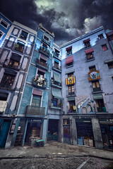 grandma see you (klepher) Tags: view street photo photography wideangle 1022mm eos canon barcelona travel mood cloud light dark people life rue ville capitale catalunya home house architecture 7d