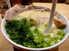 heavily recommended ramen (n.a.) Tags: maturama ramen bidwell robson vancouver bc canada food japanese bowl broth pork kale spring onions spoon