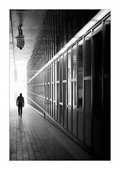 Man on a mission (Dave Fieldhouse Photography) Tags: streetphotography street urban city citycentre birmingham blackandwhite monochrome mono people sillouettes silhouette linear contrast lightandshade light bright passage path alley fuji fujifilm fujixpro2 fujinon35mmf2