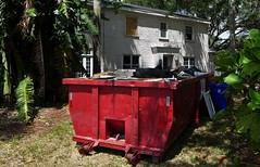 Red dumpster (Twila1313) Tags: damage storm hurricane hurricaneirma dumpster refuse garbage red home vacant empty panasoniclx7