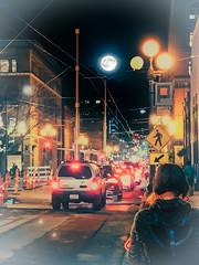 Through The Soft Moonlight Traffic Night (campmusa) Tags: digitalart moon fullmoon traffic downtownseattle nightshots landscapes citylights pioneersquare