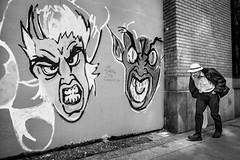 Grrrrr... (johnjackson808) Tags: mural man streetart downtowneastside monochrome dtes bw fujifilmxt1 people streetphotography graffiti wall blackandwhite vancouver downtown