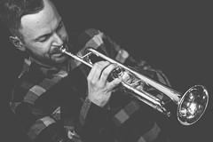 100% Jazz (DarrenCowley (mostly away)) Tags: 100percent flickrfriday trumpet portrait monochrome music maltcross musician hughpascall stage dutchangle