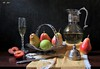 The Flavor of Fruits (Esther Spektor - Thanks for 12+millions views..) Tags: stilllife naturemorte bodegon naturezamorta stilleben naturamorta composition creativephotography art tabletop food flavor fruit pear alle plum slice basket goblet decanter lid vine knife napkin glass metal lace pattern ambientlight reflection white yellow green red burgundy silver brown black estherspektor canon