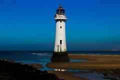 New Brighton Lighthouse (jmiller35) Tags: bluesky reflection sea seaside water canon dimlight lighthouse liverpool merseyside newbrighton ngc