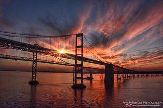 Spectacular Sunset on the Chesapeake Bay in Maryland - Bay Bridge