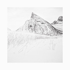 Ersfjord (Frans van Hoogstraten) Tags: senja norway winter snow blackandwhite fineart mountain peak form shape landscape