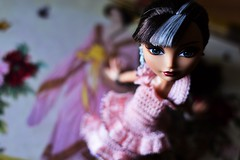 blossom (jessandgrace) Tags: doll portrait colorimage colors bokeh blur highangle dress handmade crochet pink background figure face eyes grayeyed hair brunette cerise everafterhigh eah pretty beauty glamour cute