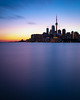 7 Minutes at Polson Pier (Brady Baker) Tags: toronto canada ontario lake skyline cityscape urban city cntower long exposure water smooth glassy sunset dusk bluehour waterfront harbor harbourfront structure negative space outdoors evening