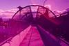 Sunnyvale (bior) Tags: sensia sensiaii fujifilm slidefilm minoltasrt101 35mm expiredfilm purple overpass pedestrian walkway bridge chainlinkfence vivitar2870mm vivitarlens pink