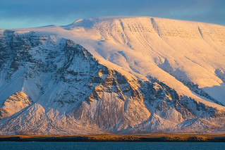Winter sun on mount Esja, Reykjavík, Iceland